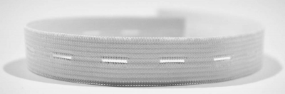 Lochgummiband, appretiert, á 100-m-Spule, 15 mm, rohweiß