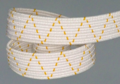 Elastic braid with orange gold tooth thread, 7 mm wide