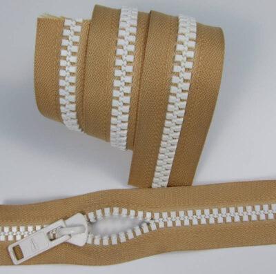 Zipper Delrin 9 endless long chain, beige, white teeth