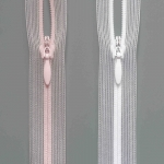 Spiral zipper S0 invisible concealed, transparent with drop puller, colours skin & white