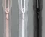 Spiral zipper S0 invisible concealed, transparent with drop puller, colours skin, white & black
