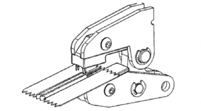 Mount u-shaped bottom stop on spiral zipper using MPP: 2nd step