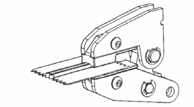 Mount the u-shaped bottom stop to spiral zipper using MPP: 3rd step