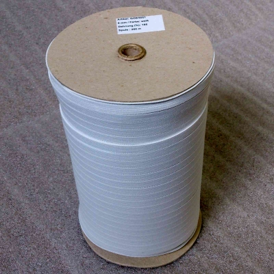 Knitted elastic textile band, 185% elongation, 8 mm á 250 m spool, raw white