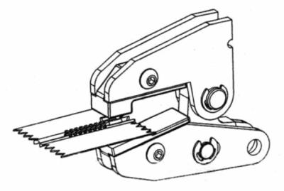 Mount x-shaped bottom stop on zipper using MPP: 3rd step