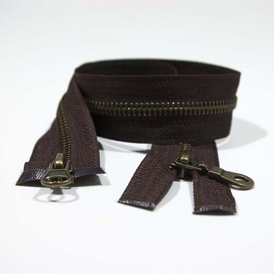 Zip M10 antique brass, 2-way, o/e, a/l, mandolin pull tab, 50 cm, dark brown TA176