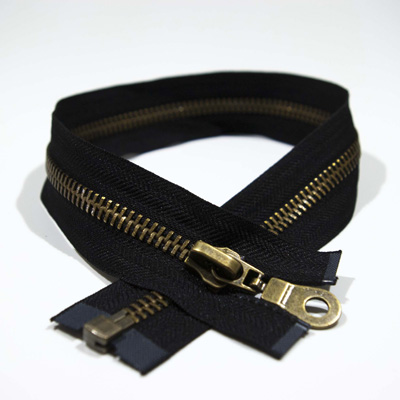 Zip M20 antique brass, o/e, a/l, 50 cm, black