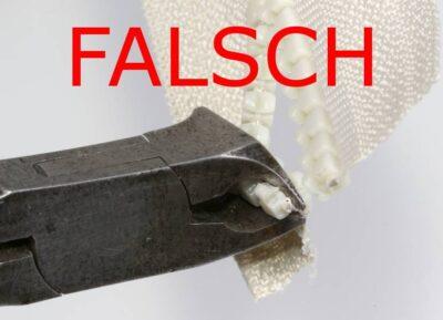 Falsch angesetzter Vornschneider zerstört die Füllschnur beim Abschneiden der Delrin-Zähne