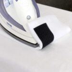 Klettband auf Polyester-Gardine aufgebügelt
