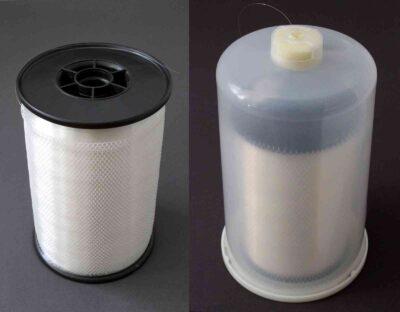Polyamid Monofilament-Transparentgarn R6, rechts im Container