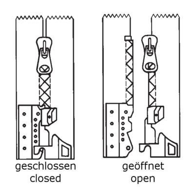 Reißverschluss, teilbar, mit Schwenkteilbarkeitselement