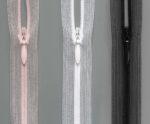 Spiralreißverschluss S0 nahtfein verdeckt transparent mit Tropfengriff, Farben haut, weiß & schwarz