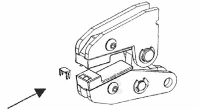 U-förmiges Endteil mittels MFZ an Spiralreißverschluss montieren: 1. Arbeitsschritt
