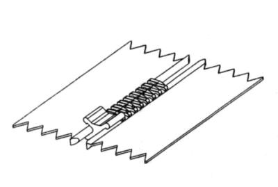 X-förmiges Endteil mittels MFZ an Reißverschluss montieren: 1. Arbeitsschritt